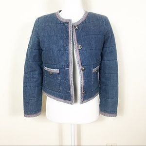 J. Crew Collection Blue Quilted Denim Jacket